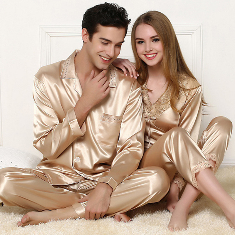 2 PCS Ladies Sexy Silk Satin Women Pajama Set Women Gold Pyjama Set Man Sleepwear Lace Spring Sleep Suit Long Home Clothes