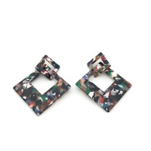 acrylic earring Big acetate Drop Earrings Multi-color tortoise shell Square