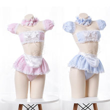 Kawaii Ragazze Della Caramella Sweetheart Cosplay Cameriera Senza Spalline In Pizzo Plaid Biancheria Intima Set Anime Sexy Camisoles & Gonna Set Lingerie Dropship(China)