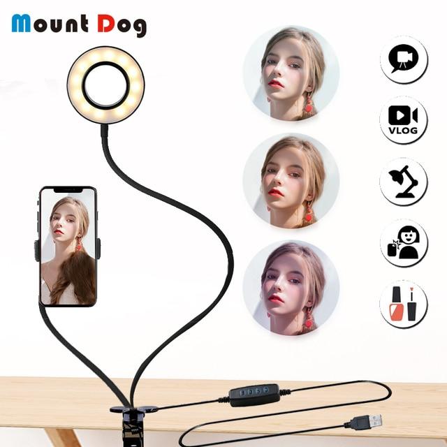 Anillo de luz LED regulable para Selfie en estudio fotográfico con soporte para teléfono móvil para lámpara de cámara de maquillaje Youtube para iPhone Android