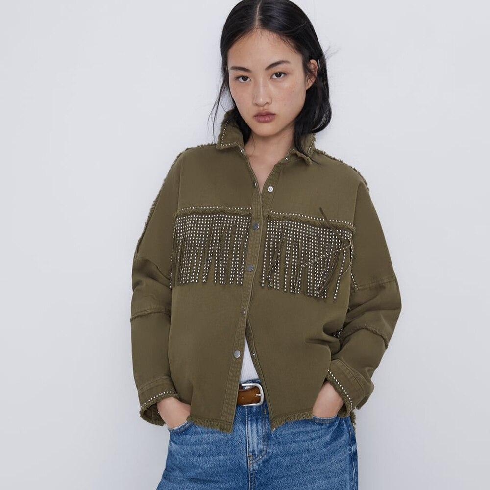 2019 automne nouvelle veste femme gland décoratif revers à manches longues beau lâche mince poilu Denim veste
