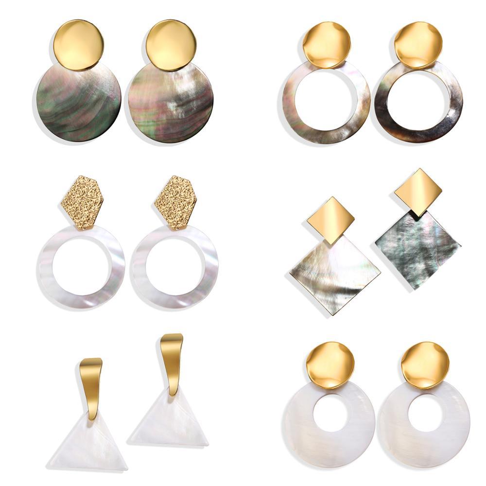 2019 Fashion Big Gold Drop Round Dangle Earring Wedding BOHO Korean Jewelry 9 Oversize Geometric Shell Earrings For Woman in Drop Earrings from Jewelry Accessories