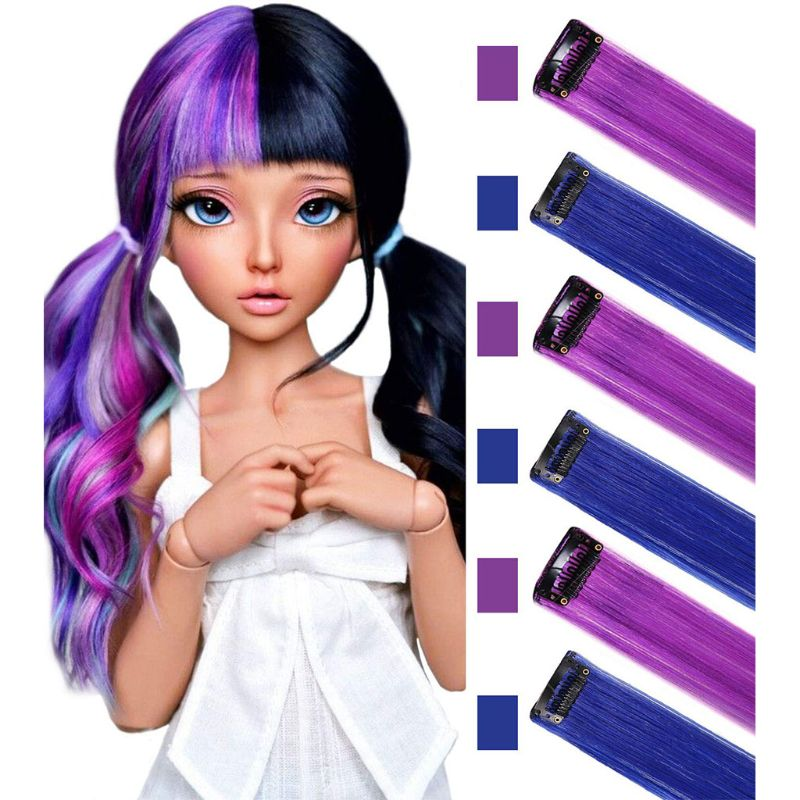 MQY 9PCS Rainbow Hair Accessories Doll Clip in Rainbow Color On Multi-Color Party Highlights Straight Colored Extensions for American Girls and Dolls Wig Pieces Colorful Hairpieces