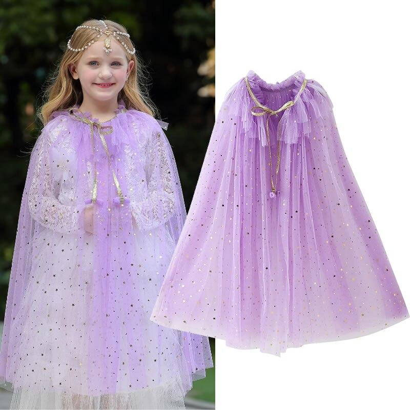 estrela de lantejoulas tule manto meninas princesa 04