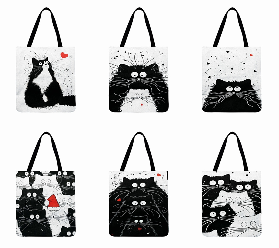 Ins Black And White Cat Printed Tote Bag For Women Linen Fabric Bag Casual Foldable Shopping Bag Outdoor Beach Bag Daily Handbag