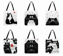Ins preto e branco gato impresso tote saco para mulher tecido de linho saco casual dobrável saco de compras ao ar livre praia bolsa diária