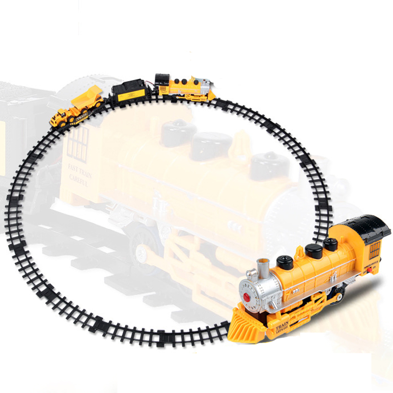 2021 Railway Classical Freight Train Set Yellow Electric Train Toys Car Model DIY Trains Rail Set Boys Children Gift HC0307