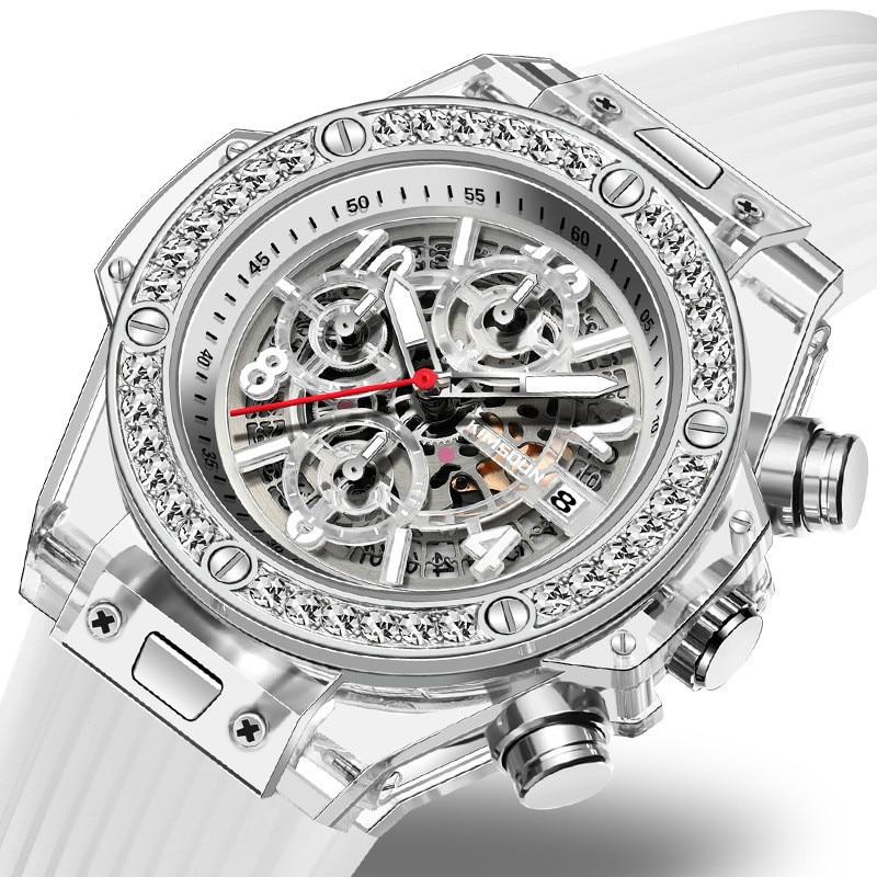 Watch Couple Personalized Clock Waterproof Women Quartz Diamond Transparent Male Lovers