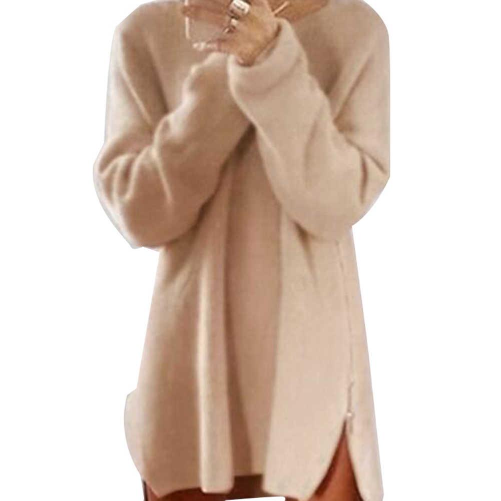 뜨거운 여성 섹시한 솔리드 컬러 긴 소매 오 넥 사이드 웨이 지퍼 느슨한 미니 스웨터 드레스