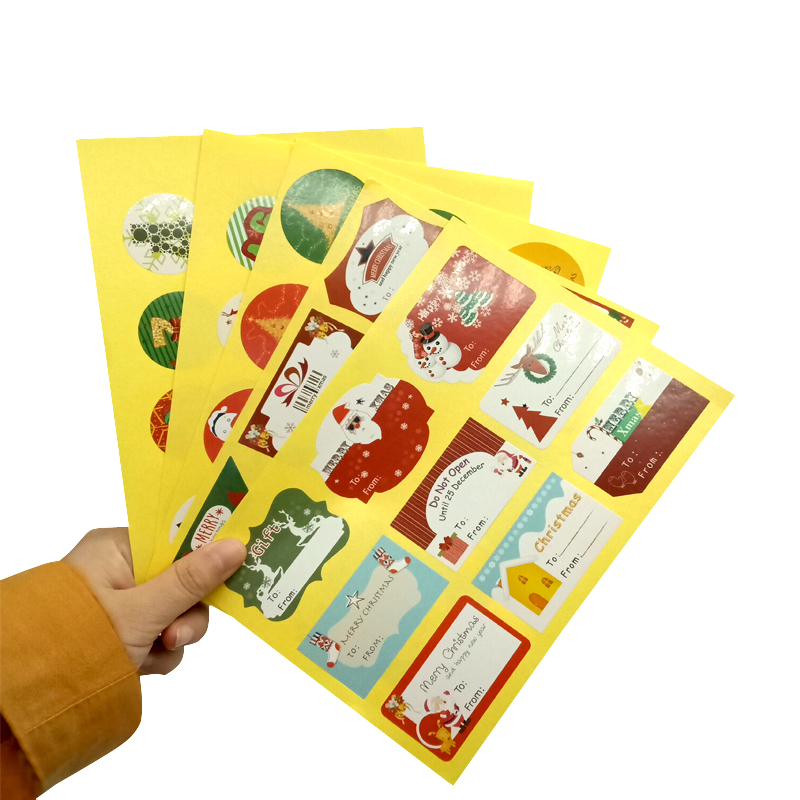 120pcs/pack Round Christmas Creative Sealing Stickers Three Selections Cake Packaging Sealing Label Sticker