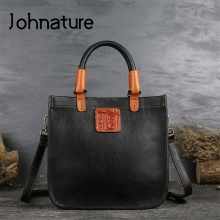 Johnature Designer Handbags High Quality 2020 New Retro Genuine Leather Handmade Women Tote Luxury Shoulder & Crossbody Bags