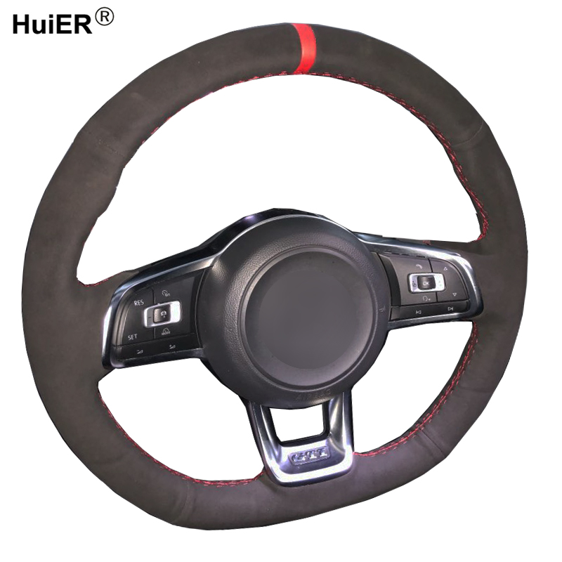 Hand Sewing Car Steering Wheel Cover Volant Suede For Volkswagen <font><b>VW</b></font> <font><b>Golf</b></font> <font><b>7</b></font> <font><b>GTI</b></font> <font><b>Golf</b></font> R MK7 <font><b>VW</b></font> Polo <font><b>GTI</b></font> Scirocco 2015 2016 Volant image