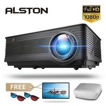 Alston projetor multimídia m5 m5w, full hd 1080p 4k 6500 lúmens, cinema, proyector beamer, android, bluetooth, wi-fi, hdmi vga usb av com presente