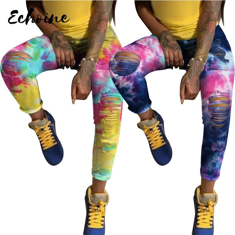 Купить женские джинсы карандаш с принтом высокой талией