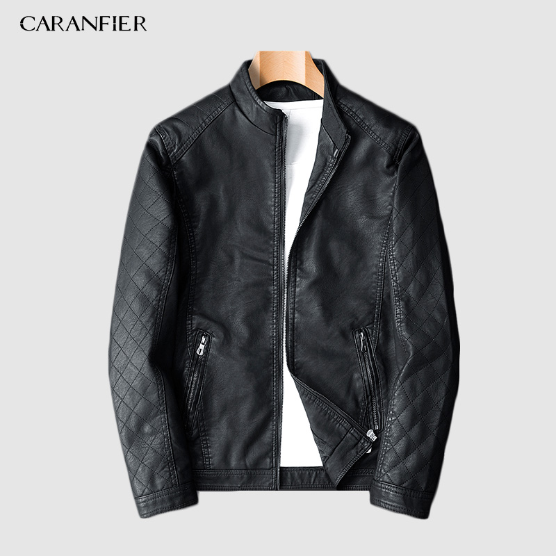 CARANFIER2019 New Arrive Motorcycle Leather Jacket Men Men's Leather Jackets Fashion Street Style Masculina Mens Leather Coats