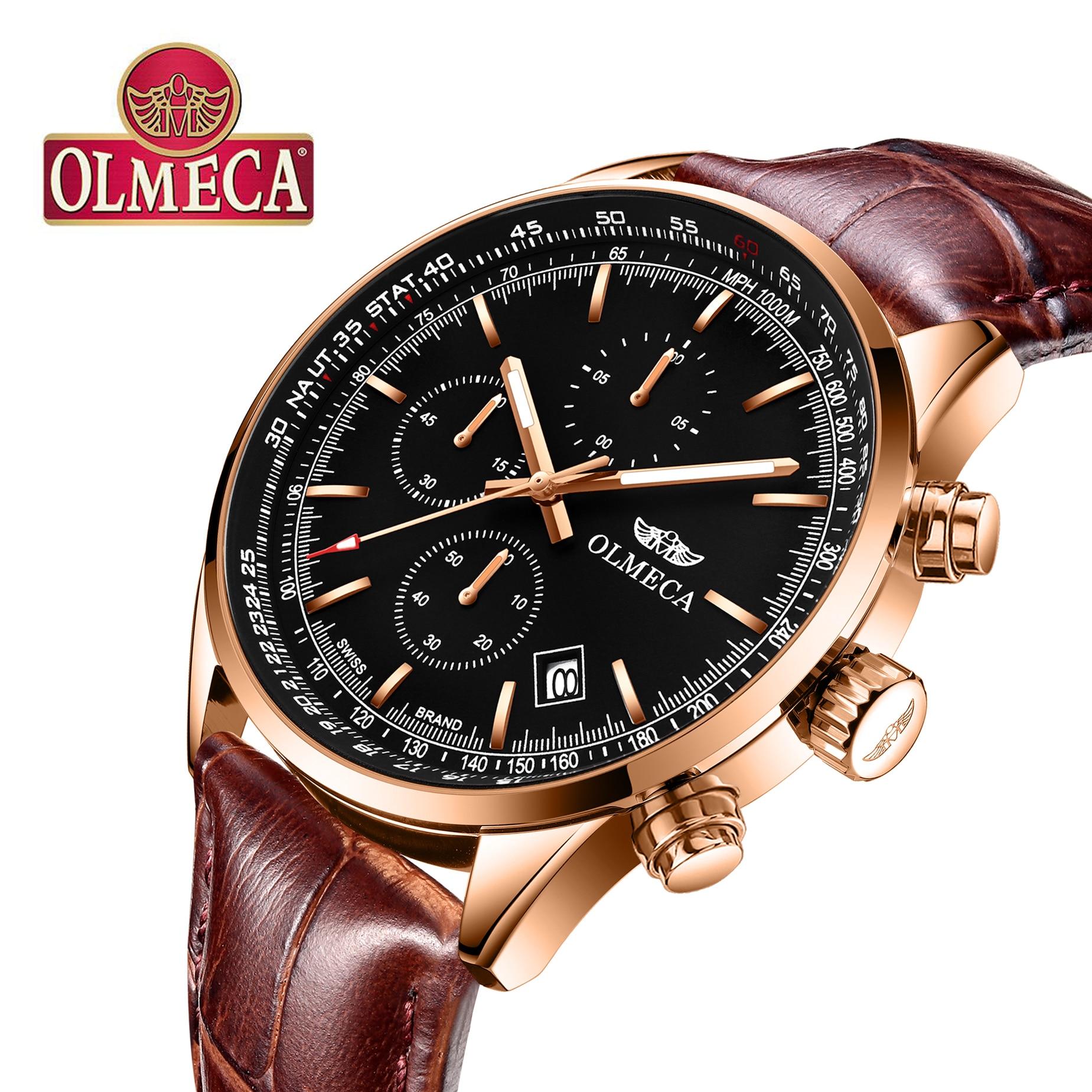OLMECA Women Watch Luxury Fashion Dial Stainless Leather Wrist Quartz Watches Waterproof Business Health Watch Reloj de mujer