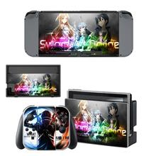 Sword Art Online Nintendoswitch Sticker Vinyl Skin Decal for Nintendo Switch Full Set Faceplate Stickers Console Joy-Con Dock