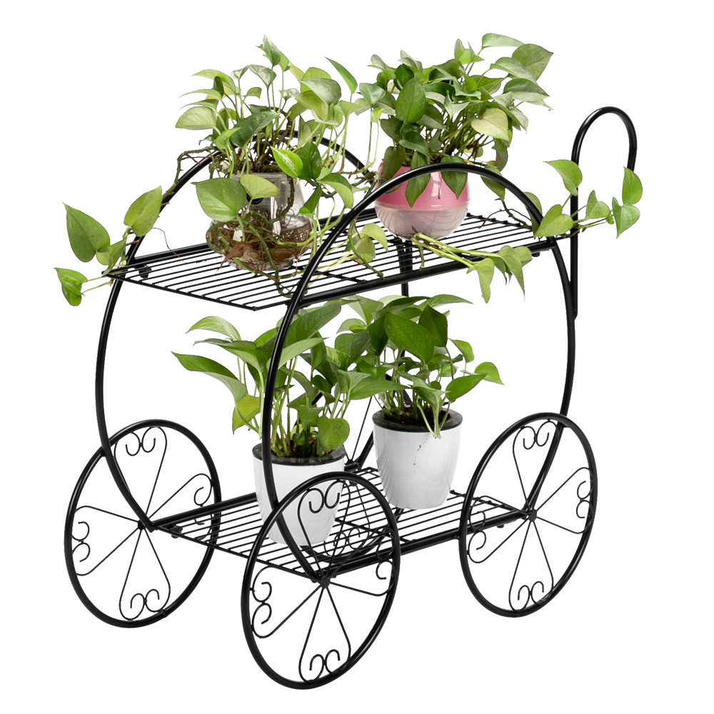 2 Layer Metal Stand Plant Rack Flower Shelf Garden Decor Flower Rack Household Multi-layer Plant stand With Handle Cart Shape