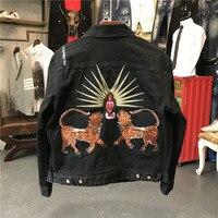 New Men Long Sleeve Back Embroidery Flowers leopard Blind For Love Denim Baseball Coats & Jackets Abstract digital coat #N106