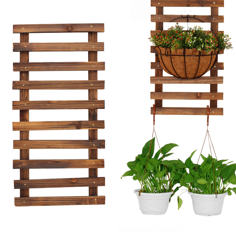 Balcony Flower Stand Hanging Solid Wood Wall Hanging Flower Shelf Outdoor Flower Pot Hanger Anticorrosive Wood Wall Hanging Flow