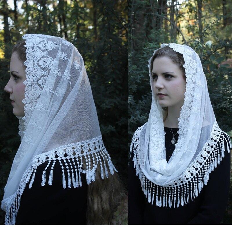 2020 White Black Women's Catholic Veil Jerusalem Muslim Elegant Ladies Lace Tassel Shawl Scarf Mantillas Veil Church Bridal Cape