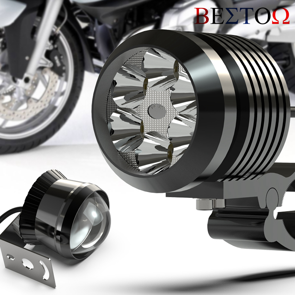 Universal Motorcycle LED Headlight Super Bright External Spotlight Electric Scooter Modified 12V Glare Auxiliary Light image