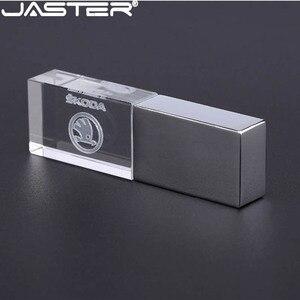 Image 1 - JASTER skoda crystal + metal USB flash drive pendrive 4GB 8GB 16GB 32GB 64GB 128GB thumb drive memory stick u disk