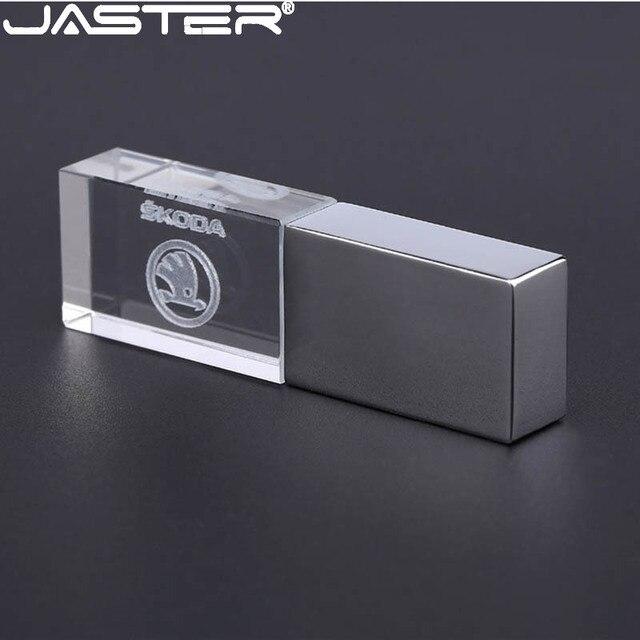 JASTER skoda crystal + metal USB flash drive pendrive 4GB 8GB 16GB 32GB 64GB 128GB thumb drive memory stick u disk