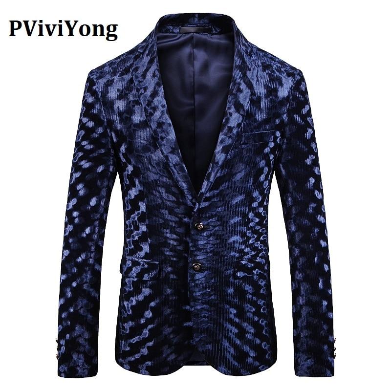 PViviYong Brand 2019 High Quality Suit Top For Men,men Blazer British Style Blue Suit Men Slim Fit Suit Jacket Men 1914