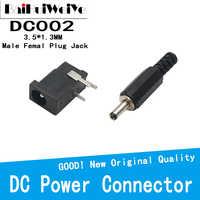 20 unids/lote 10 pares DC002 3,5*1,3 MM enchufe de alimentación conector Jack macho línea de soldadura DC-002 Mini DC hembra 3.5x1.3mm