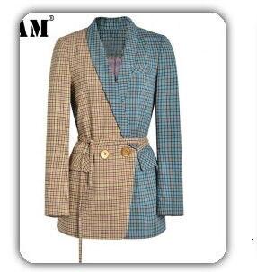[EAM] black plaid big size Knitting Cardigan Sweater Loose Fit V-Neck Long Sleeve Women New Fashion Autumn Winter 2019 1K356 50