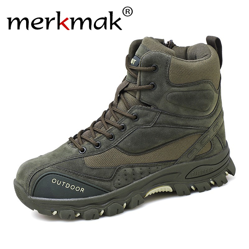 Merkmak New Men Boots Ankle Rubber Military Combat Boots Men Sneakers Casual Shoes Outdoor Work Safety Boots