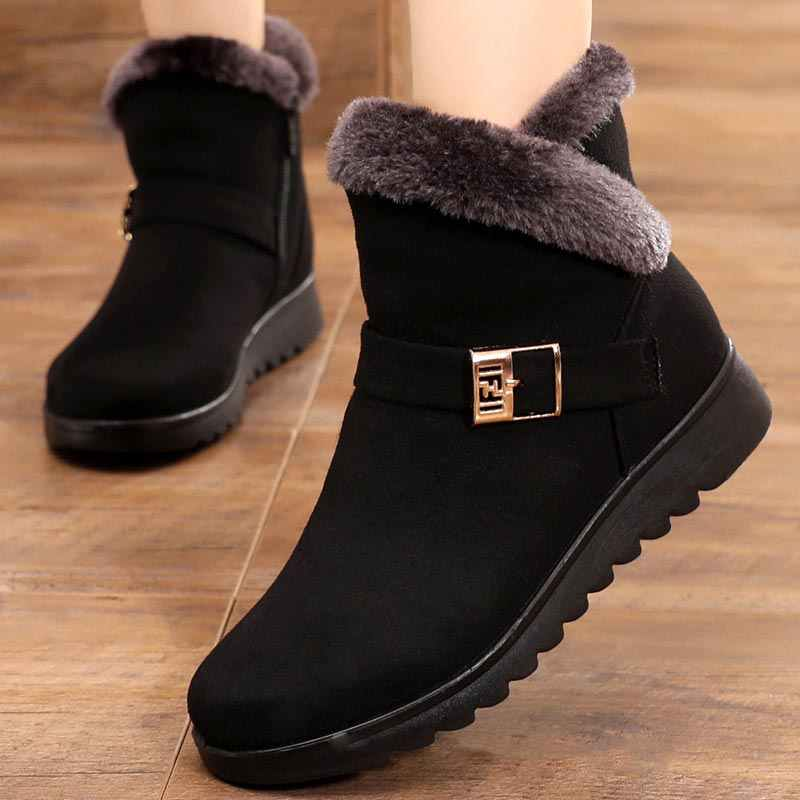Winter boots women shoes 2019 solid flat plush warm snow boots women shoes zipper platform ankle boots casual shoes woman