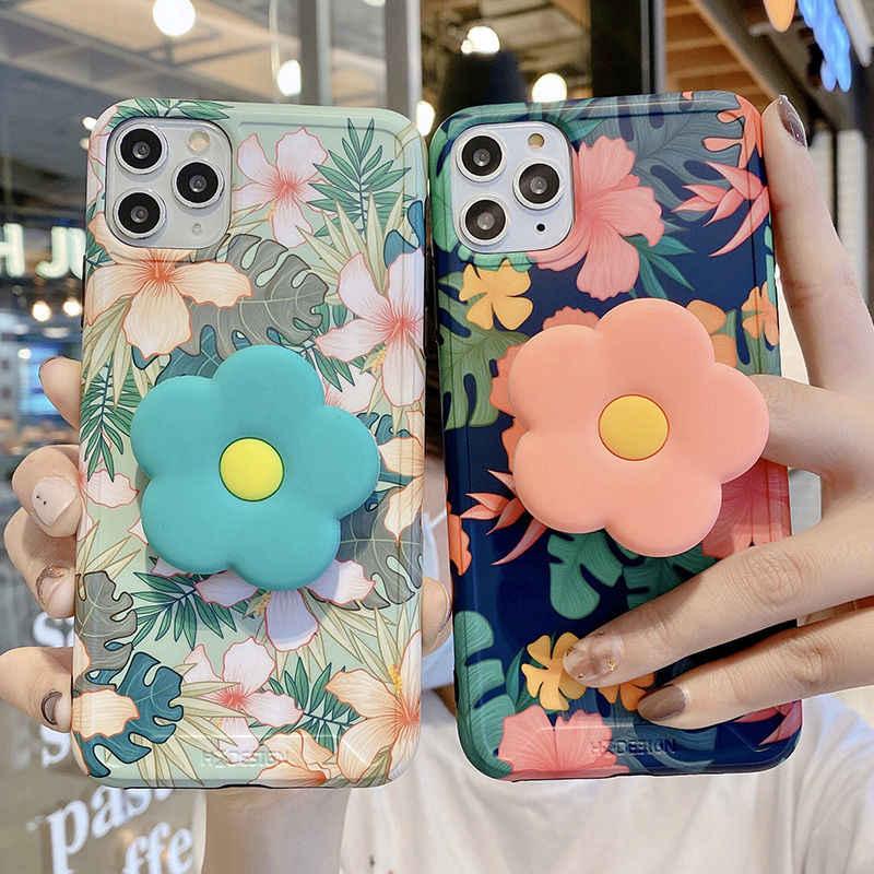 בציר חמוד פרח עלים Stand מחזיק מקרה עבור iPhone 11 11Pro Max XR XS מקסימום X XS 7 8 בתוספת 11Pro SE 2020 מתקפל סוגר כיסוי