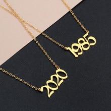 Número do ano do vintage colar para a moda feminina ano 1980 1989 2000 presente de aniversário de 1985 a 2020 jóias de moda