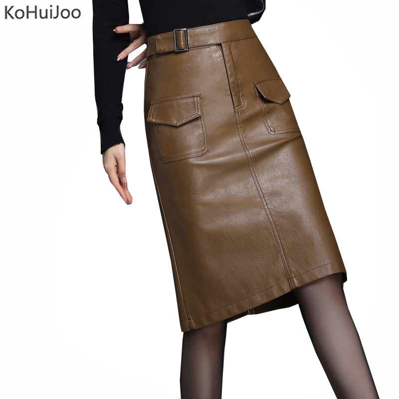 KoHuiJoo Faux Leather Skirt Women Autumn Winter Pockets Belted Plus Size Pu Pencil Skirts Lady Sexy Bodycon Skirts Khaki Black
