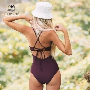 Image 2 - CUPSHE katı koyu mor taraklı kalıplı fincan tek parça mayo seksi Push Up kadınlar Monokini 2020 plaj mayo mayo
