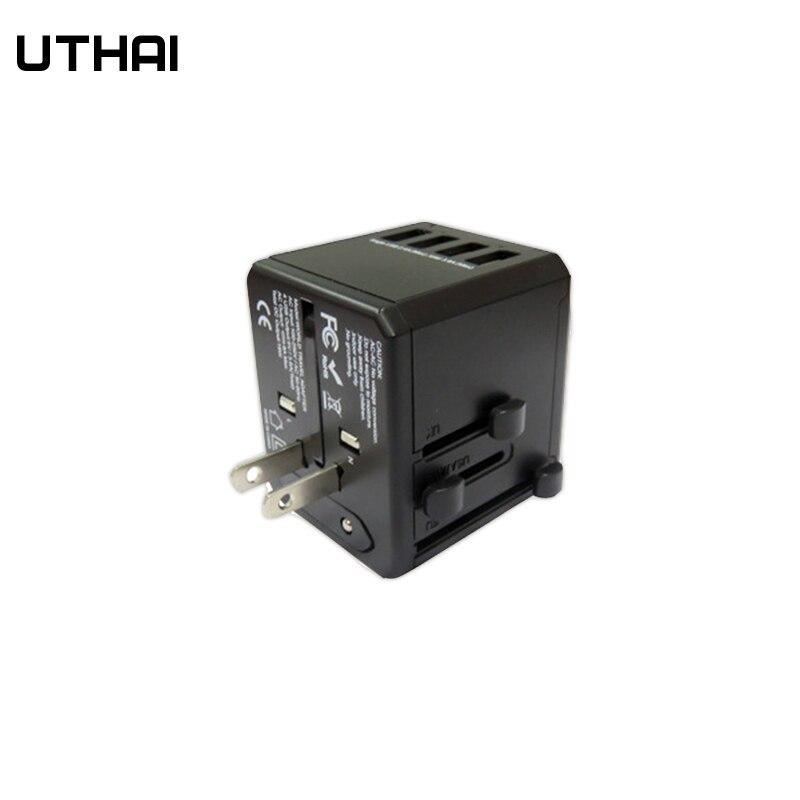 UTHAI F016 cargador de viaje Universal multinacional enchufe eléctrico adaptador toma de recorrido Universal 50 Uds 6,3 doble curva inserto pcb soldadura terminal inserto cobre estañado enchufe macho terminal