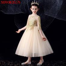 Детское платье с длинным рукавом принцессы цветочным принтом