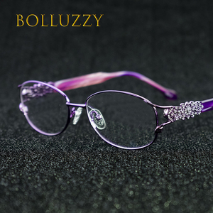 Image 1 - נשים של תואר משקפיים מסגרת עם יהלומים ריינסטון זהב חלול החוצה אופטי משקפיים מסגרת עם פרח עבור נשים 2399