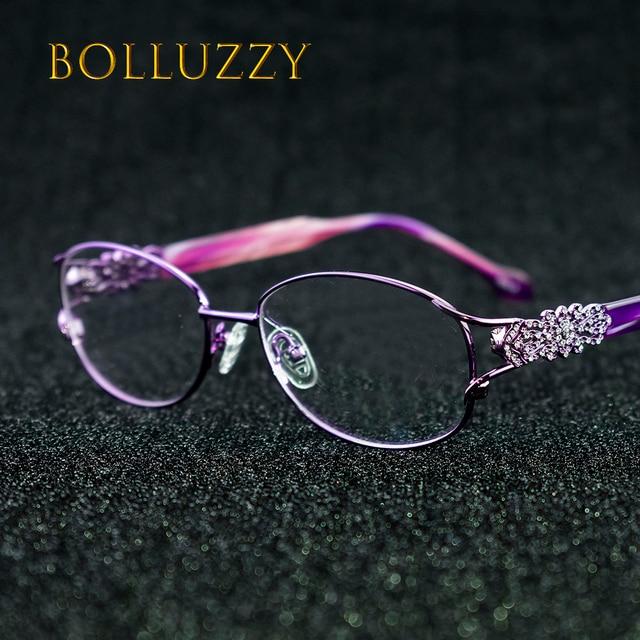 נשים של תואר משקפיים מסגרת עם יהלומים ריינסטון זהב חלול החוצה אופטי משקפיים מסגרת עם פרח עבור נשים 2399