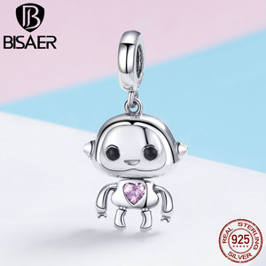 BISAER 925 Sterling Silver Pink Crystal Roboe AI Pendant Charms fit for Women Original Bracelet and Necklace Fine Jewelry GXC924
