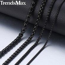 2-5mm negro caja collar de cadena para hombres collar de acero inoxidable collares al por mayor de los hombres, joyas 18-36