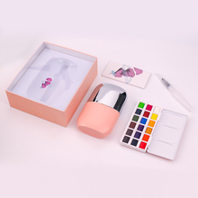 MIYA Solid Water Colors Palette -18 Colors Portable Travel Watercolor Paint with Brush and Watercolor Paper Ideal for students
