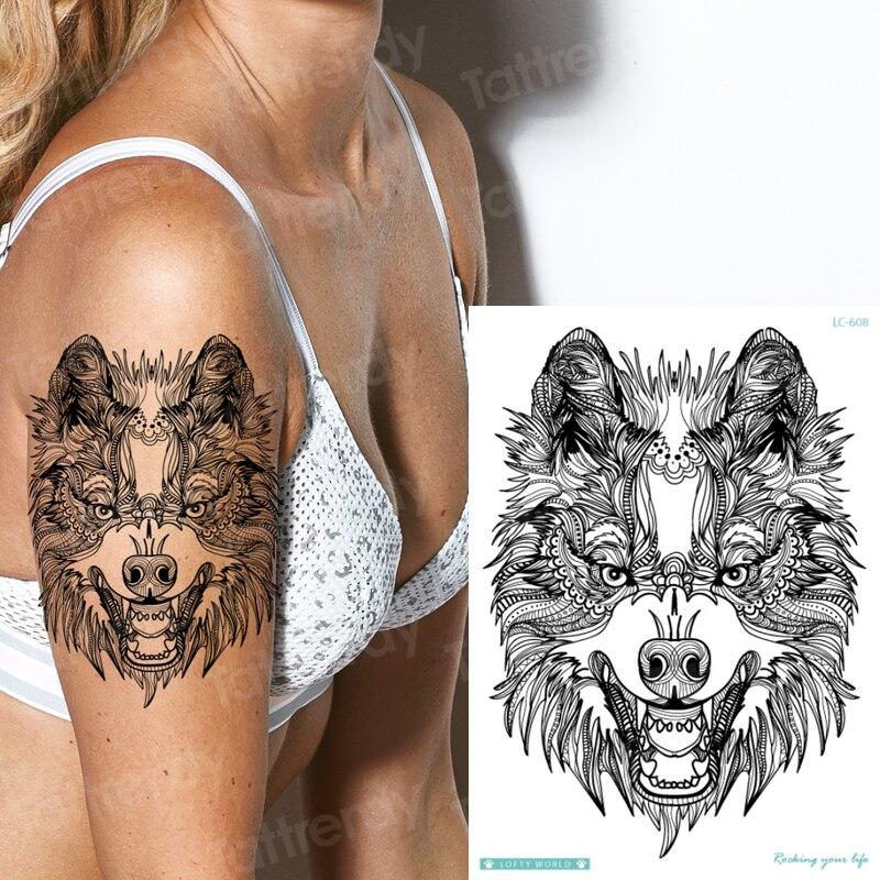 Transferencia de agua 21*15cm Gran Lobo tatuaje temporal pegatina para niños mujeres hombres animales tatuajes Foream cuerpo brazo mangas del tatuaje nuevo