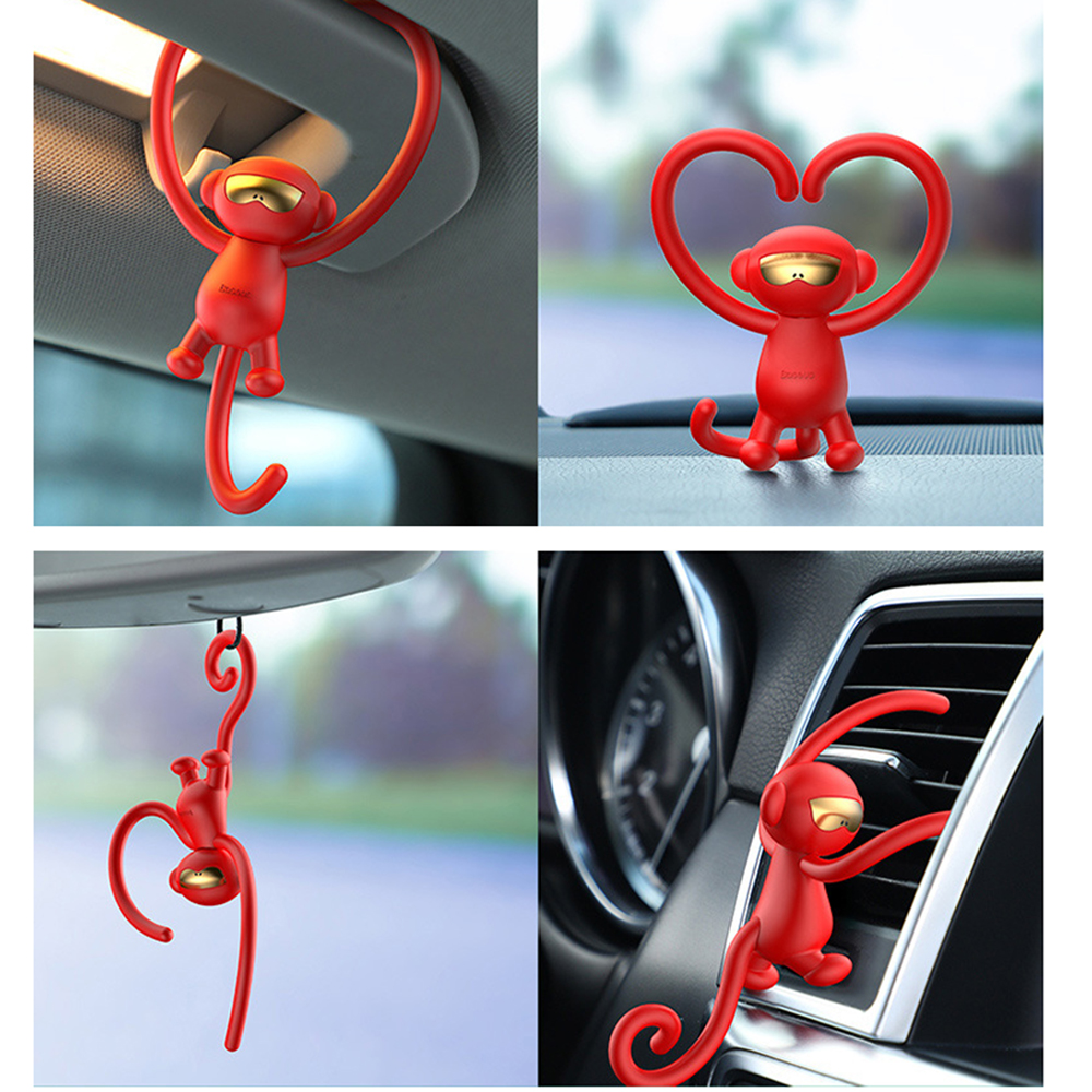 1pc TPE Playful Monkey Car Air Freshener Scent Car Air Outlet Perfume Interior Decoration Aromatherapy Auto Products Accessory