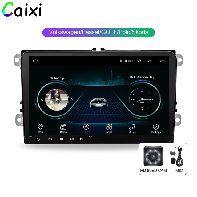 Caixi 9 カーラジオ gps ナビゲーション Android8.1 multime プレーヤー vw フォルクスワーゲンシュコダ GOLF5 Golf6 ポロパサート B5 B6 jetta ティグアン