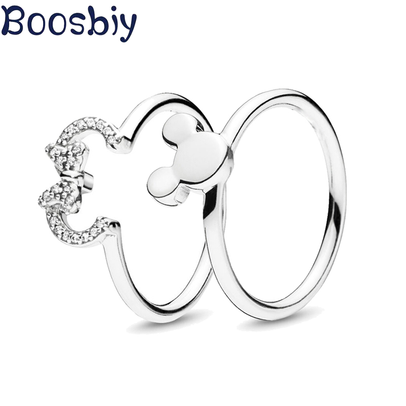 Boosbiy 2019 New Arrival Fine Silver Color Minnie & Mickey Silhouette Finger Rings Crystal Wedding Rings For Women Party Gift