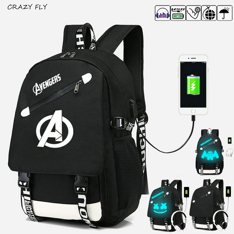 Luminous Student School Backpack The Avengers Anime USB Charge Laptop Computer Backpack For Teenager Anti-theft Boys Bags Senkey