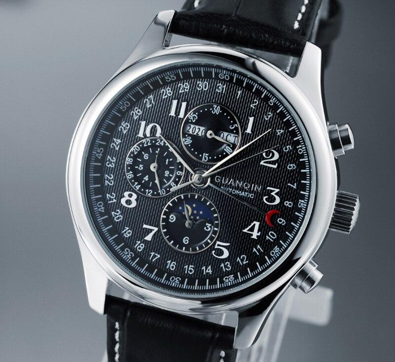 Hd01ed028820a415b86d3ea947147ac02l GUANQIN Relogio Masculino Automatic Mechanical Men Watches Waterproof Calendar Moon Leather Wristwatch otomatik erkek saat